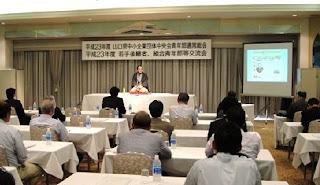 講演会講師・三遊亭楽春の後継者育成講演会の風景。