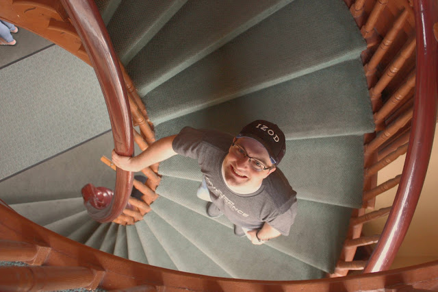 Ben on the spiral stairs in the historic St. George tabernacle