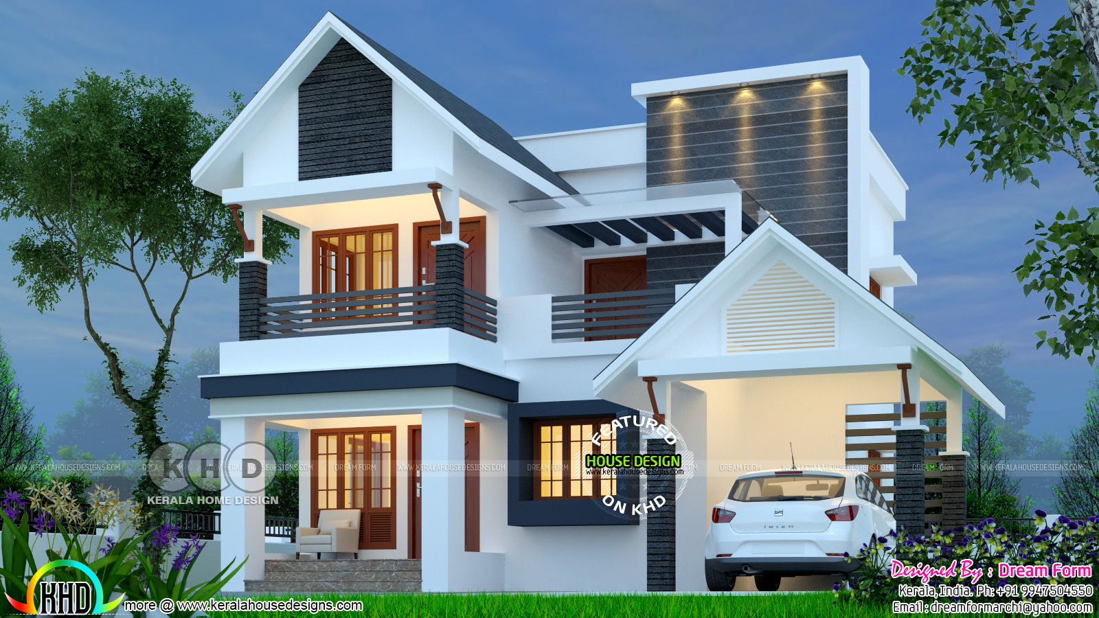 1847 Square Feet 4 Bedroom Home Plan Kerala Home Design
