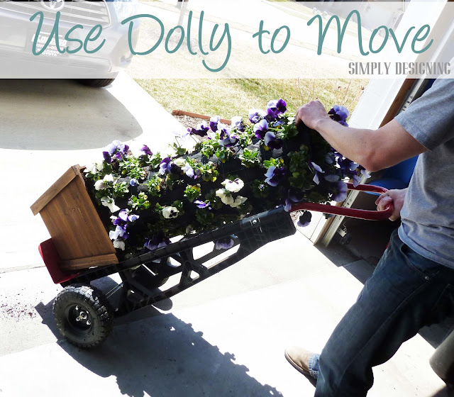 Use Dolly to Move Flower Tower, DIY Flower Tower, Simply Designing, #digin #heartoutdoors #spring #sponsored