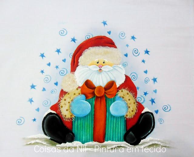 pintura em tecido pano de copa papai noel sentado com presente