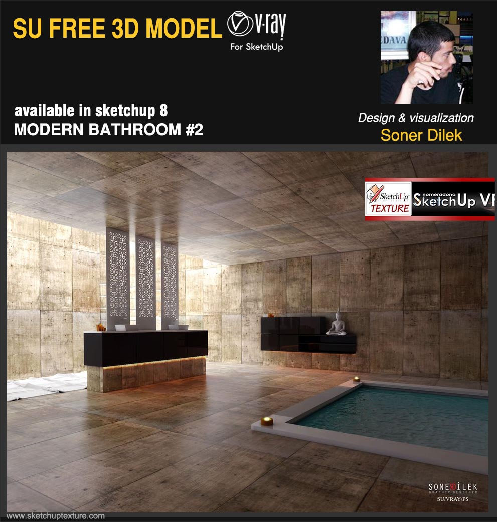 sketchup free 3d model modern luxurious bathroom #2