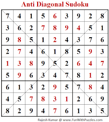 Answer of Anti-Diagonal Sudoku Puzzle (Fun With Sudoku #304)