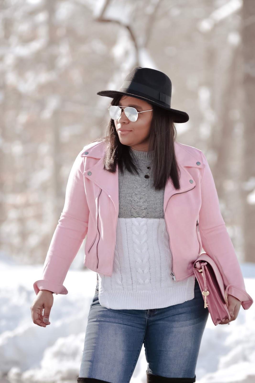 winter wonderland, mom bloggers, fashion bloggers, otk boots, winter hats, pink outfits, pink motto jacket, lookbookstore,knit sweater