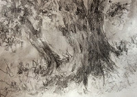 water soluble graphite painting of trees by Manju Panchal