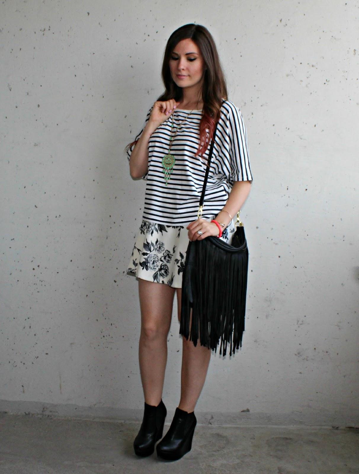 nautical stripe t-shirt, floral skirt, denim shorts, fringe purse, wedge ankle boots