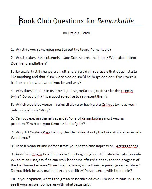 Brandi Raae Remarkable Discussion Questions Activity Ideas Free