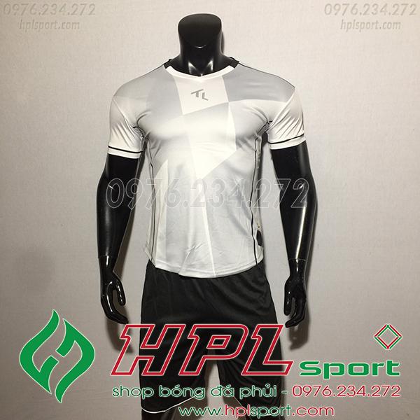 Áo bóng đá không logo TL TBA màu trắng