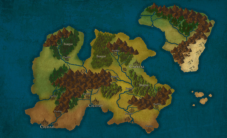 mapa de fantasía dibujado en photoshop