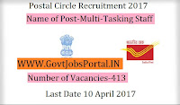 Postal Circle Recruitment 2017– 413 Multi-Tasking Staff