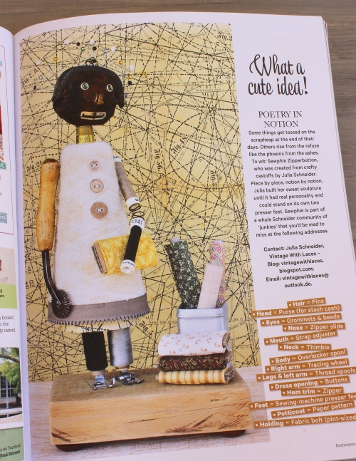 Found Object Sculpture Sophie Zipperbutton by Vintage with Laces featured in Homespun May 2017