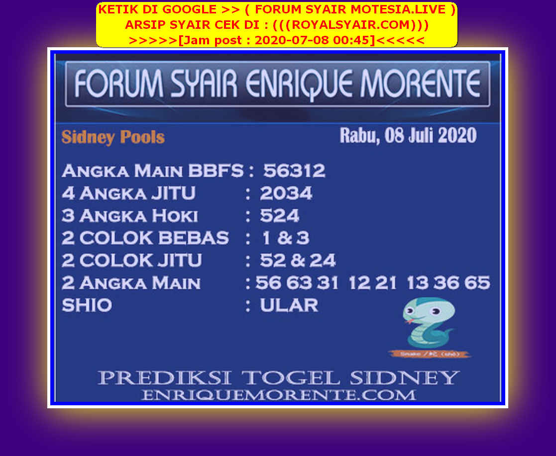 Kode syair Sydney Rabu 8 Juli 2020 189