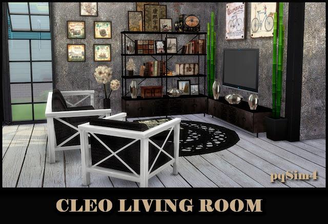 Cleo Living Blanco y Negro. Sims 4 CC.