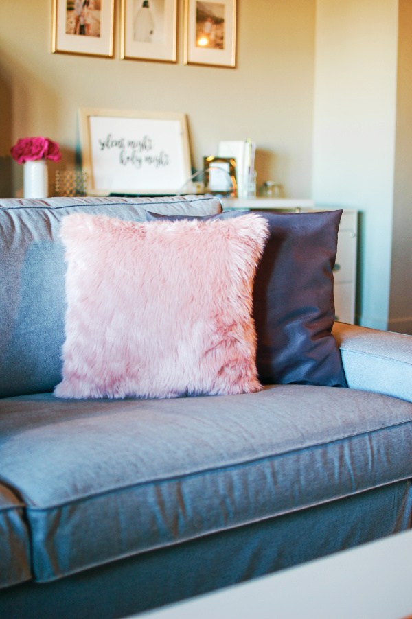Fuzzy pink pillows are a great for Christmas decorations ideas