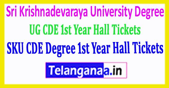 SKU CDE Degree Sri Krishnadevaraya University UG CDE 1st Year Hall Tickets 2018 Download