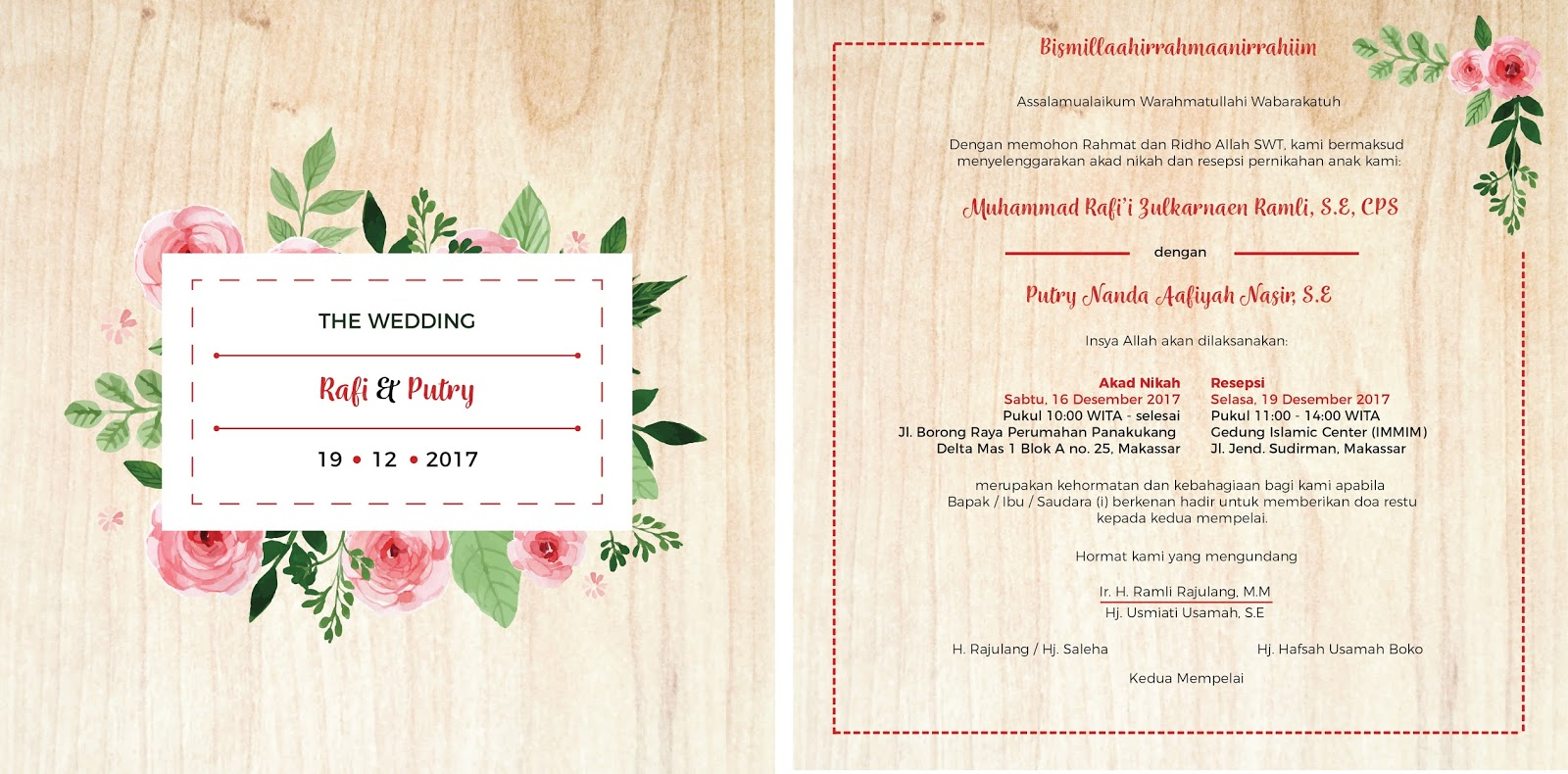 Kamar kiki indonesian wedding invitation philosophy second attempt with the same concept as the previous one flip side floral element is a must identical text layout stopboris Gallery
