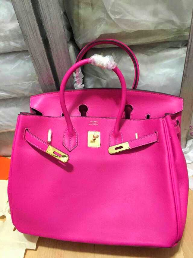 ee19d0a7c4cc ... wholesale replica hermes birkin 35 cm box calf leather hot pink gold  hardware 0e353 d7391