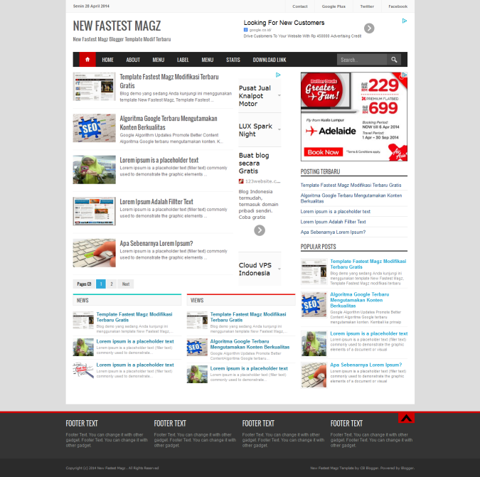 New Fastest Magz Blogger Template