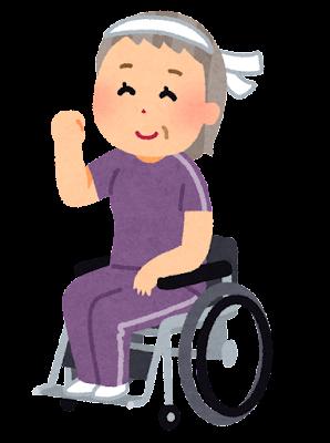 車椅子に乗って運動する人のイラスト(おばあさん)