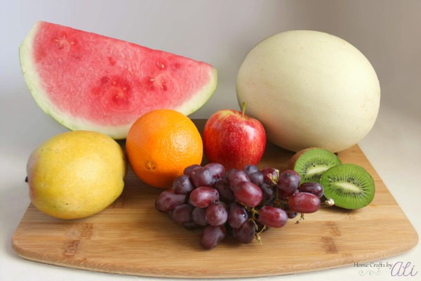 fresh assorted rainbow of fruit for salad
