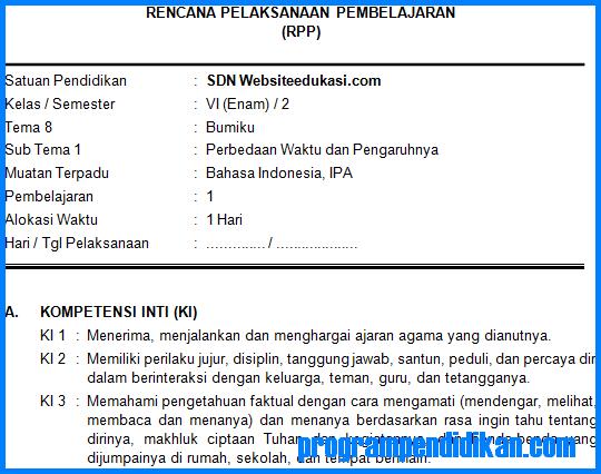 RPP Kelas 6 SD/MI Tema 8 K13 Revisi 2018