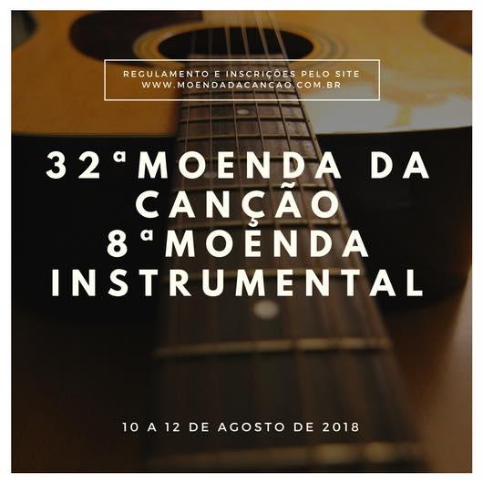 Estão abertas as inscrições para a 32ª Moenda da Canção e 8ª Moenda Instrumental
