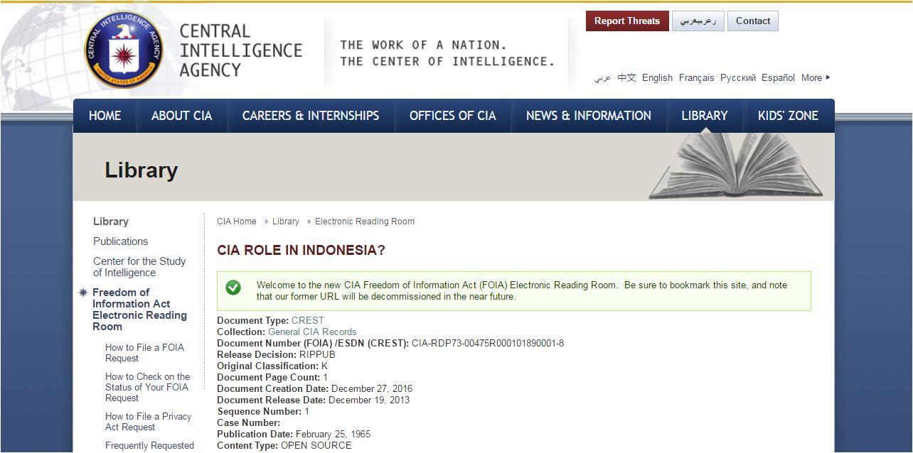 CIA Rilis 13 ribu Dokumen Rahasia Indonesia, Soekarno, Soeharto