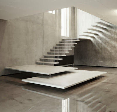 minimalist hanging stair  with metal structure