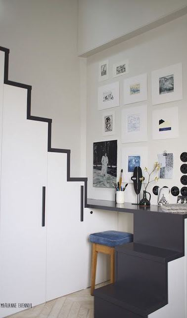 white and black working space decor idea