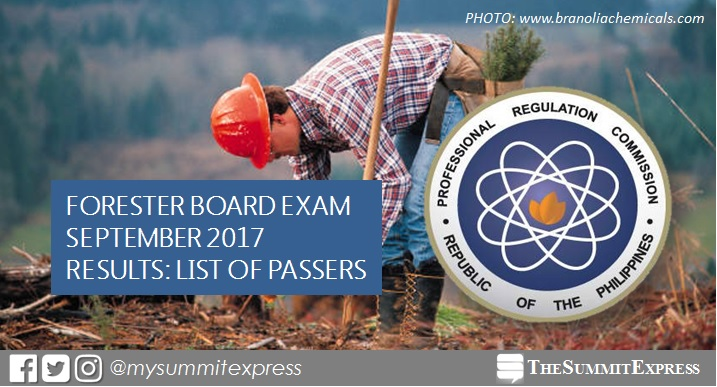 September 2017 Forester board exam passers list, top 10