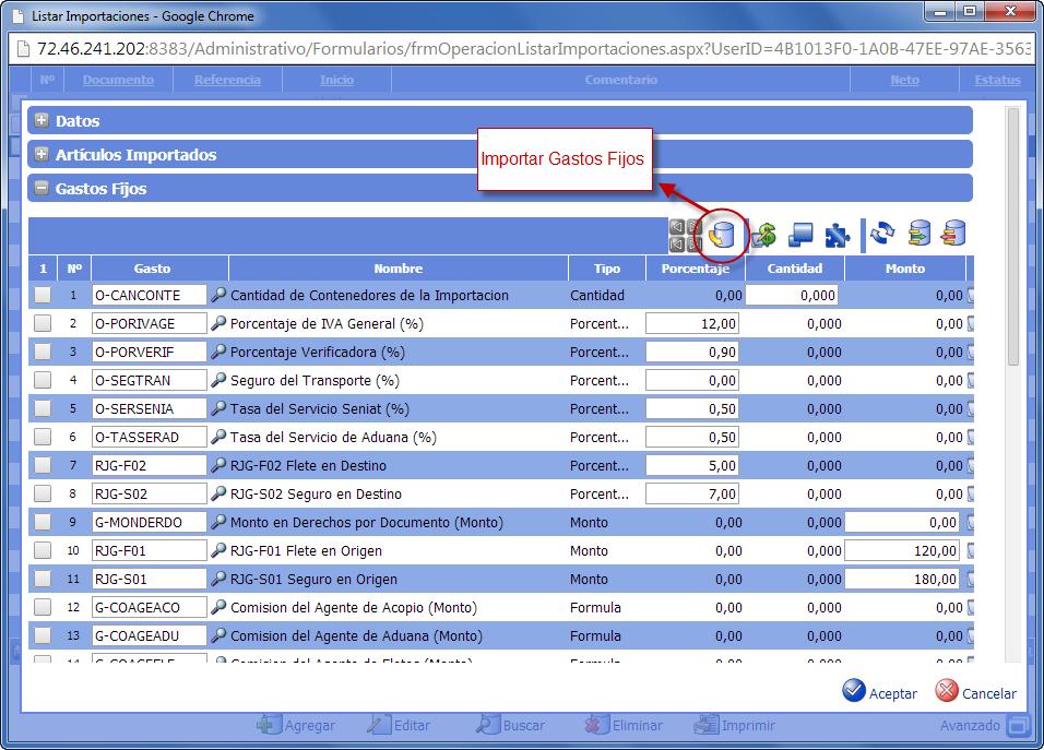 Gastos Fijos de Importación - Gastos de Importación de eFactory ERP/CRM