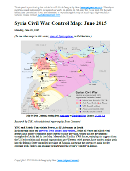 Map of fighting and territorial control in Syria's Civil War (Free Syrian Army rebels, Kurdish groups, Al-Nusra Front, Islamic State (ISIS/ISIL), and others), updated for late June 2015. Highlights recent locations of conflict and territorial control changes, such as Palmyra, Ariha, Tel Abyad, Ayn Issa, and Hasakah, Kobani, and Suwayda.