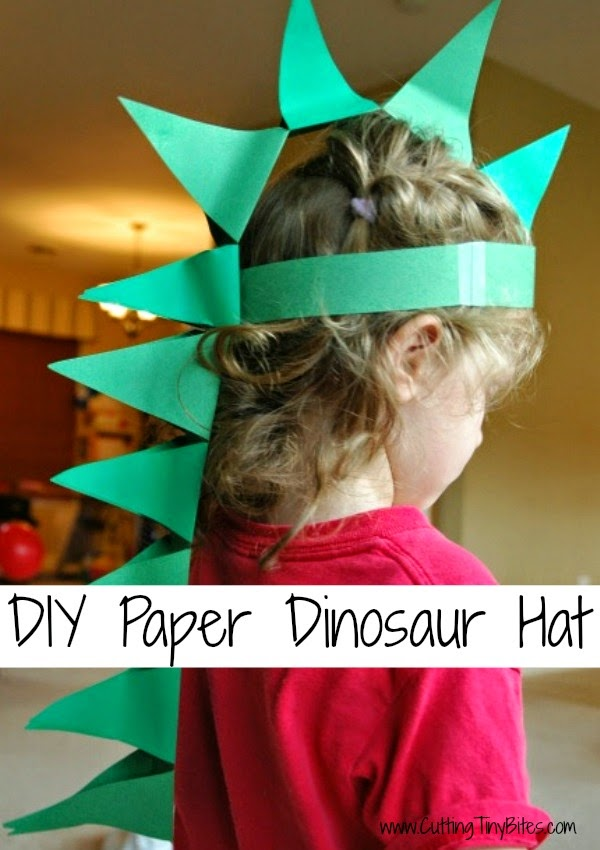 Paper Dinosaur Hat as part of Dinosaur Theme Weekly Home Preschool