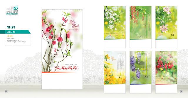 NH29 - Loc biec, Lịch treo tường 7 tờ, in lịch, mẫu lịch hoa