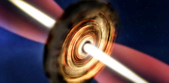 Artist's impression of the disc and outflow around the massive young star  Credit: A. Smith, Institute of Astronomy, Cambridge