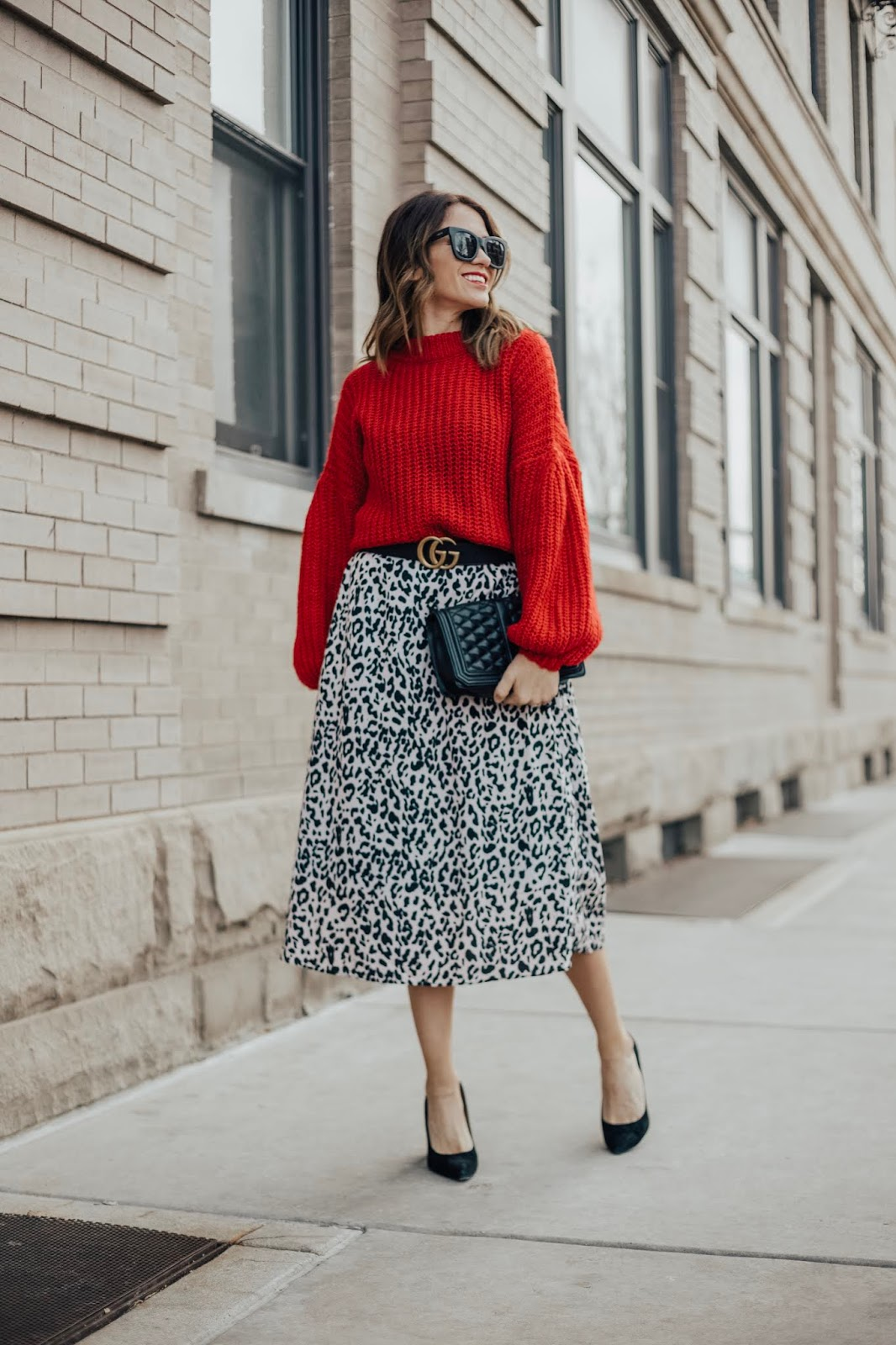 Sweater and Skirt With Gucci Belt
