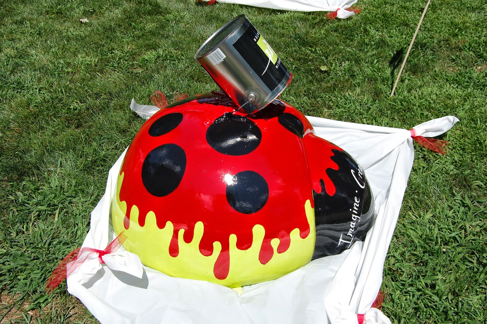 Franklin Art Center ladybug on display at the Town Common in August