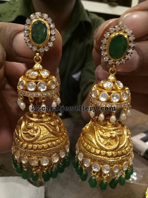 Emerald Pendant with Bangles and Jhumkas