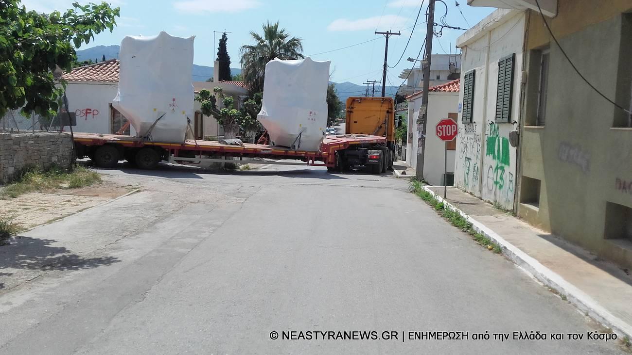 Συνεχίζεται η διέλευση φορτηγών με υλικά για ανεμογεννήτριες από τα Νέα Στύρα (photo)