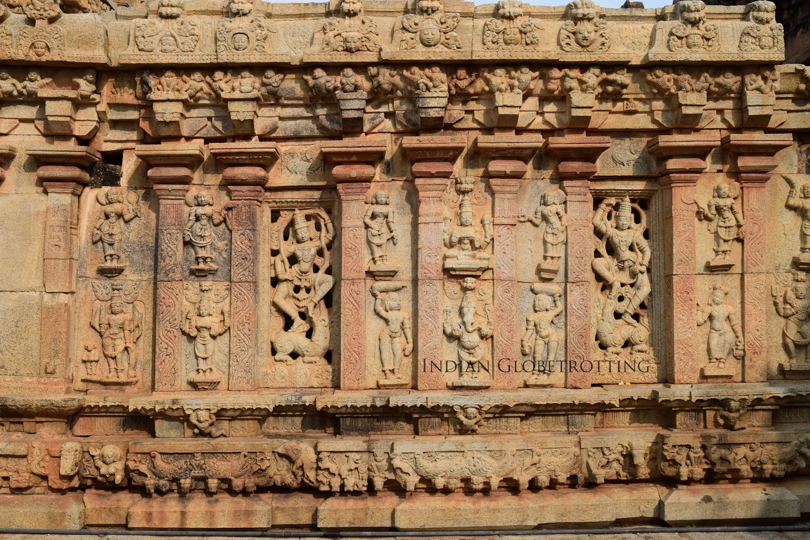 Sculptures on the wall of Bhoga Nandeeshwara Temple in Nandi Village