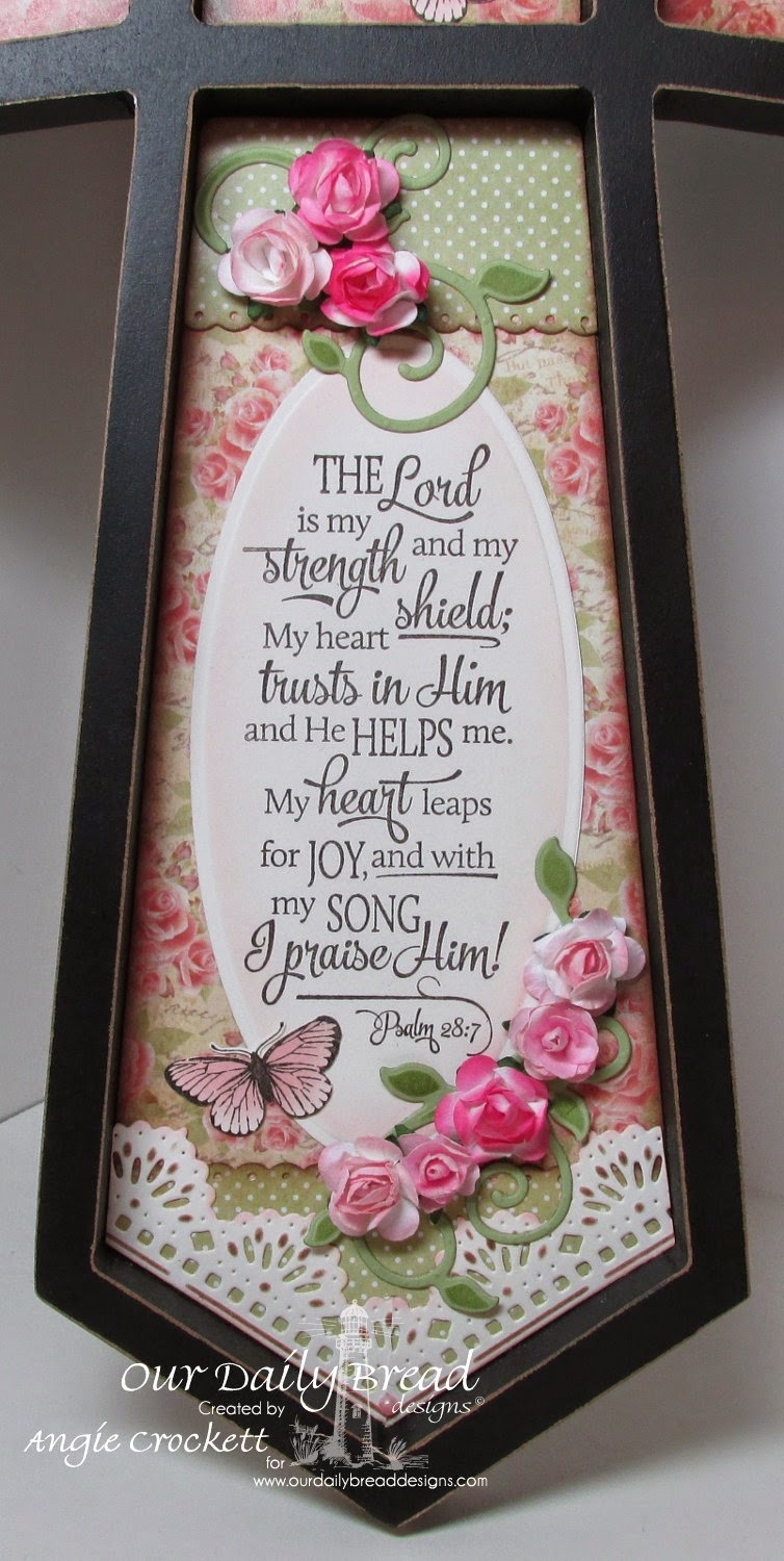 ODBD Fancy Foliage Dies, ODBD Beautiful Border Dies, Scripture Collection 13, Butterfly Stamped-By Mini, Blushing Rose Collection, Rustic Beauty Collection, Project Designer Angie Crockett