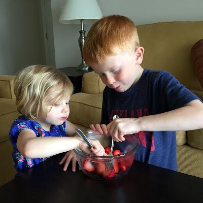 Porter & Stella Eating Strawberries