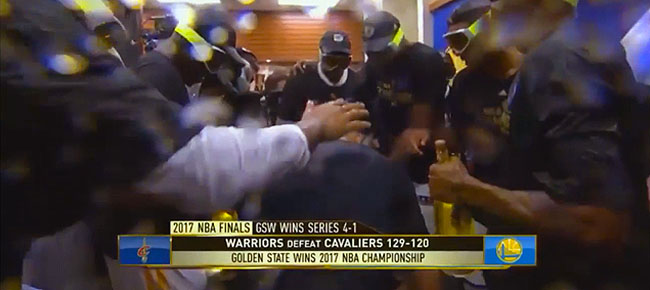 Golden State Warriors 2017 Finals Locker Room Celebration (VIDEO)