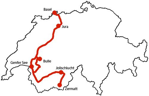 Karte von Basel nach Zermatt