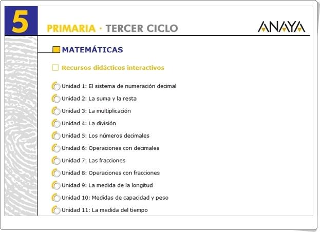 """""""Recursos Didácticos Interactivos Anaya. Matemáticas de 5º de Primaria"""" (Deja huella)"""