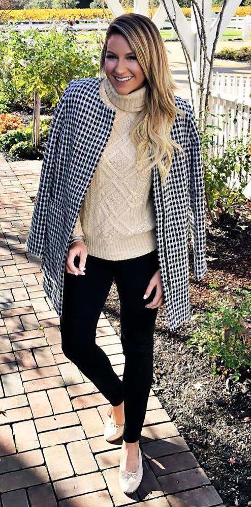trendy outfit idea / palid coat + knit sweater + skinnies + shoes