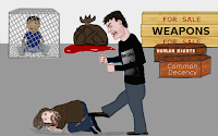 Cartoon by Wendy Cockcroft of man kicking homeless man
