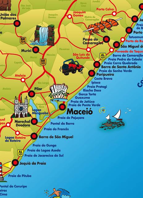 Mapa do litoral de Maceió