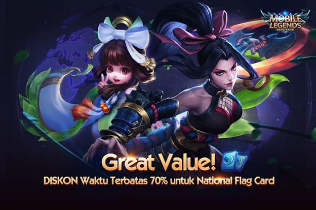 Tutorial Mendapatkan Diskon 70% National Flag Card Mobile Legends 2