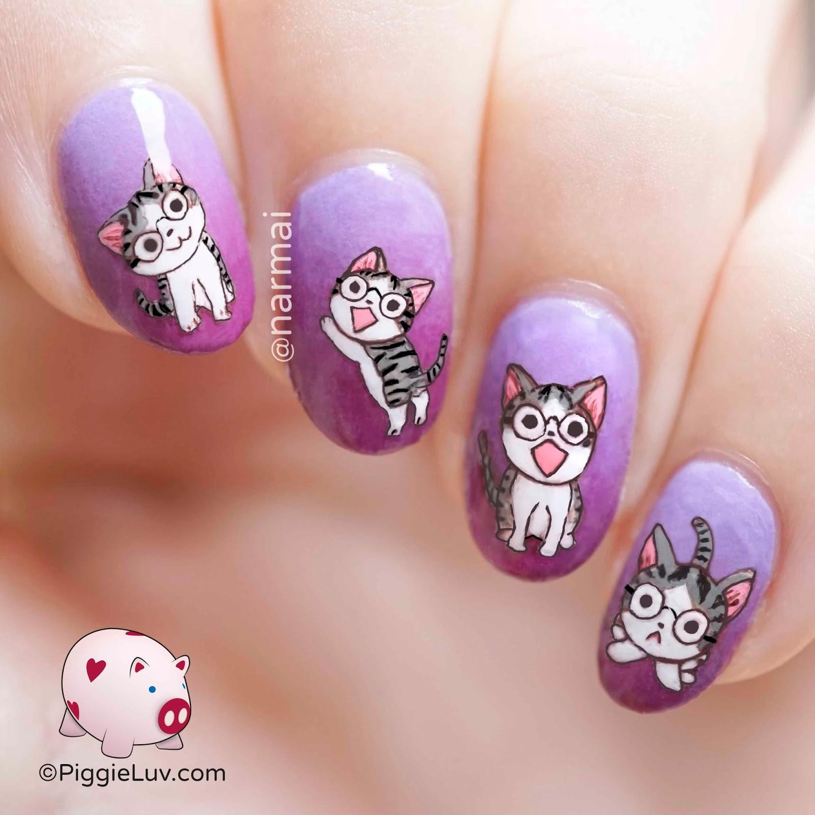 Nerdy Cats Nail Art